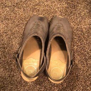 Peep toe clogs grey nubuck from No6store.com.  F